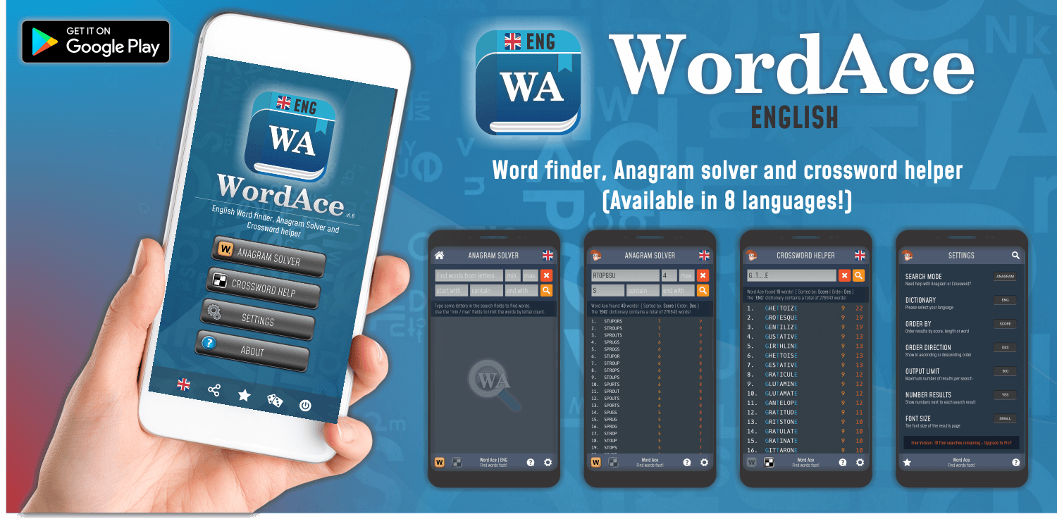 Word Ace - English word finder & anagram solver